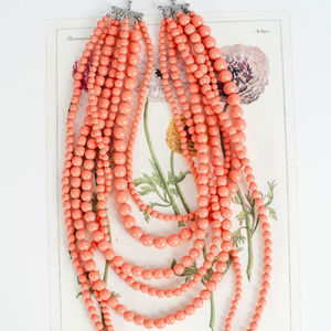 Jenny Boston Jewelry - Tangerine Multi Strand Chunky Necklace